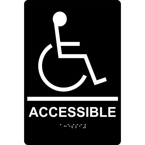 ComplianceSigns Acrylic ADA Accessibility sign, 9 x 6 inch Tactile + Braille Black by ComplianceSigns
