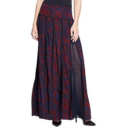 DKNY Womens Silk Printed Pleated Skirt Red 4