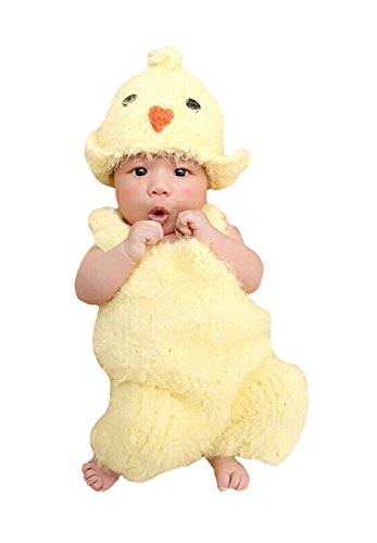 M&G House Unisex Newborn Baby Crochet Knitted Photography Props Chick Hat Bodysuit (Cute Baby Chick)