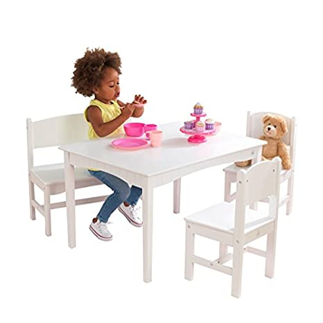 Kidkraft Nantucket Wooden Table With Bench 2 Chairs Children S Furniture White