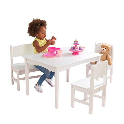 KidKraft Nantucket Wooden Table with Bench & 2 Chairs, Children's Furniture - White (Chair Style Pottery Barn)