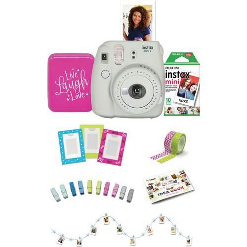 Fujifilm Instax Mini 9 Instant Film Camera Back to School Bundle, Smokey White