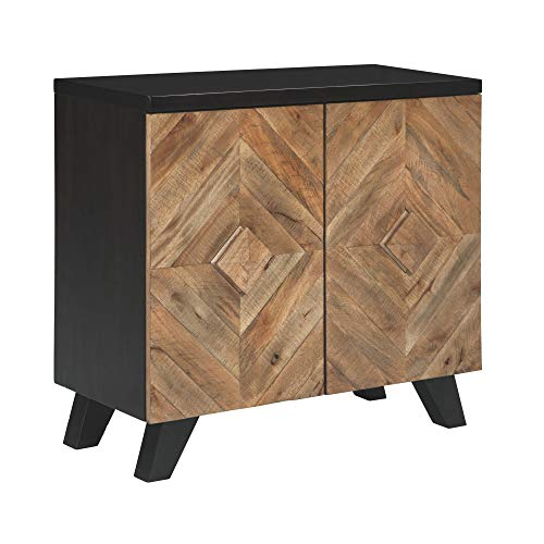 Ashley Furniture Signature Design - Robin Ridge 2-Door Accent Cabinet - Contemporary - Two-Tone Brown Finish - Diamond Inlay Pattern