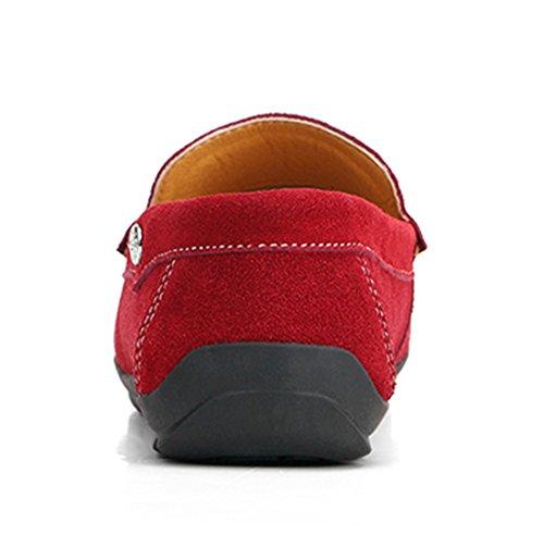 Tda Casual Para Hombre Slip-on Gamuza De Conducción Zapatos Mocasines Zapatos De Barco Rojo