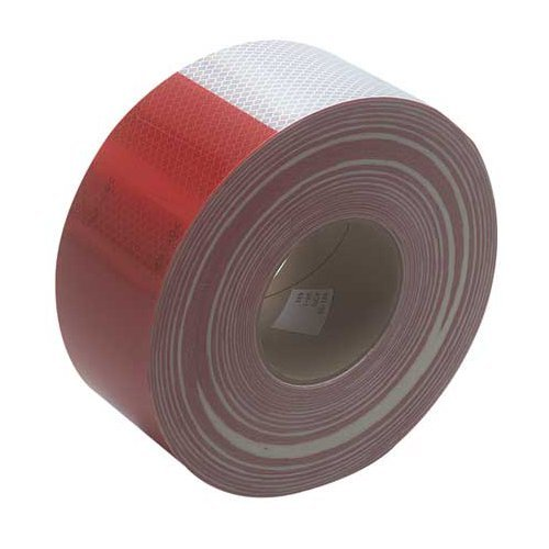 3M 22494 Red and White Reflective Tape - 2'' x 150'