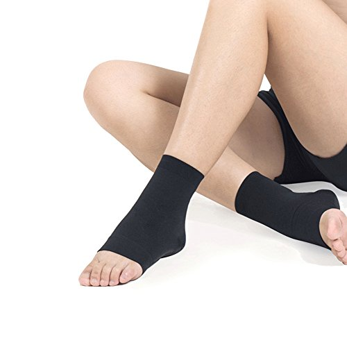 HaloVa Ankle Brace, Plantar Fasciitis Socks, Best Ankle Support Foot Compression Sleeve for Men and Women Running, Basketball, Walking, Jogging, and Everyday Wear, Black