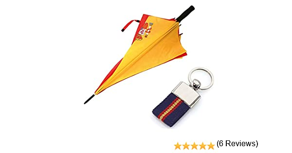Paraguas de la Bandera Española + Llavero ESP-ANTIVENTISCA-126 CM ...