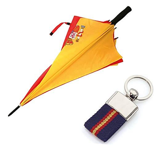 Paraguas de la Bandera Española + Llavero ESP-ANTIVENTISCA-126 CM- con Escudo ESPAÑA-Tela Impermeable -Colores Vistosos- Escudo de España- Paraguas de ...