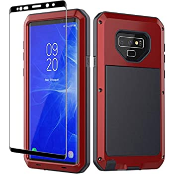 Galaxy Note 9 Case, Note 9 Heavy Duty Shockproof Hybrid Metal Silicone High Impact Rugged Case Tempered Glass Screen Protector [Full Screen Coverage] Samsung Galaxy Note 9 (Red)