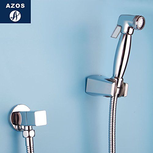Azos Bidet Faucet Pressurized Shower Nozzle Brass Chrome Cold Water Single Function Washing Machine Pet Bath Shower Room Round PJPQ026B by AZOS
