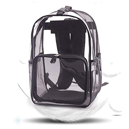 WINNER POP Transparent Dog Backpack, Pet Tote Bag with Plaid, Portable Breathable Comfortable Cat Backpack Bag Hiking Camping Outdoor, Black