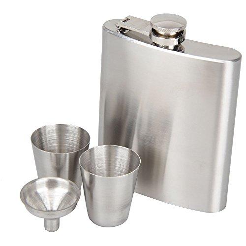 Whitelotous Portable Stainless Steel 7oz Hip Flask Flagon Whiskey Wine Pot Bottle Gift