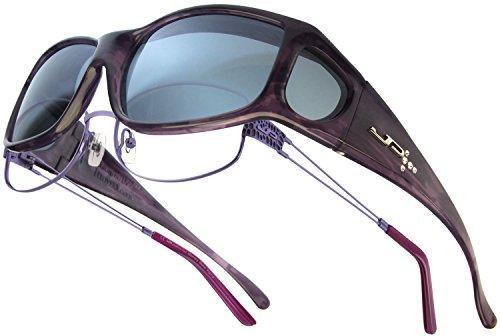 Fitovers Eyewear Jett Sunglasses with Swarovski Elements on temples, Purple Haze, Polarvue Gray
