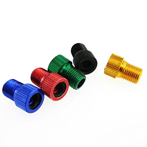 num PRESTA to SCHRADER Converter Car Valve Adapter Bicycle Bike Tube Pump Air Compressor Tools (5 mixed colors) (Presta Tire Valve)