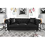 Divano Roma Furniture Classic Living Room Bonded Leather Scroll Arm Chesterfield Sofa (Black)