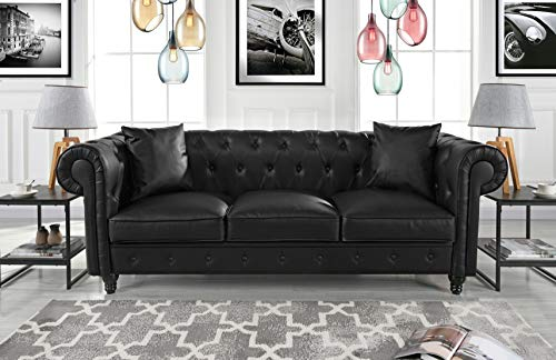 Divano Roma Furniture Classic Living Room Bonded Leather Scr