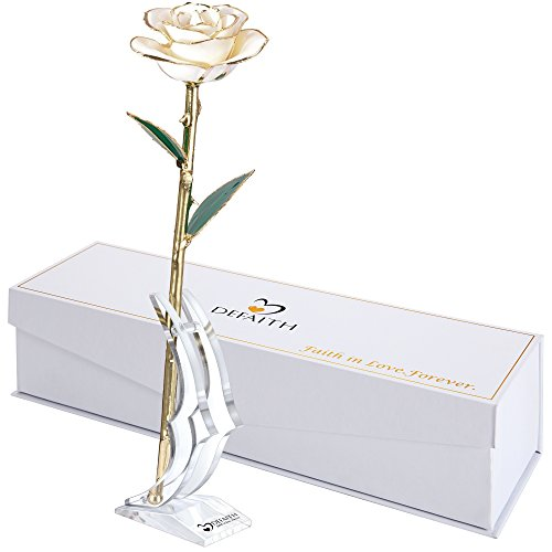 24k Gold Dipped Roses - DeFaith 24K Gold Rose, Made from Real Rose Flower, Unique for Her Mother Wife Girlfriend Women Teacher - White, with Stand
