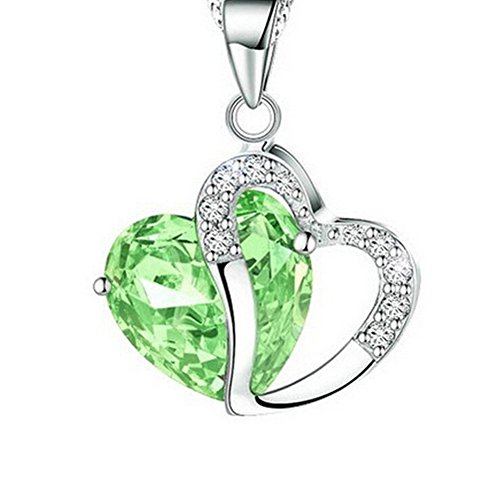 Double Heart Shape Two Tone Diamond Statement Pendant Necklace Chian Made with Swarovski Crystal for - Shaped Heart To Face How Have A