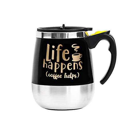 Update Self Stirring Mug Auto Self Mixing Stainless Steel Cup for Coffee/Tea/Hot Chocolate/Milk Mug for Office/Kitchen/Travel/Home -450ml/15oz (Black) (LIFE HAPPENS, COFFEE ()