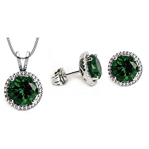 SWAROVSKI CRYSTAL Nickel Free Earrings Necklace Pendant May Birthstone Fashion Jewelry Set For Women - 18 Inches Chain 8mm Round Latest Design - Free Gift Pouch - Best friend Gifts