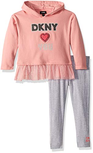 DKNY Girls 2 Piece Hooded Heart Top with Legging Set