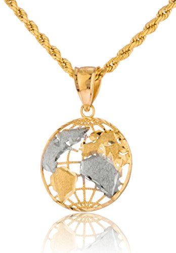 10k Yellow Gold Globe Pendant with a 10k 24 Inch Rope Necklace (Size 1) - 24 Pendant 10kt Gold Jewelry