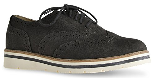 LUSTHAVE Women's Tinsley Lace up Platform Brogue Trim Oxford Flats Sneakers Loafers by Grey IMSU ()