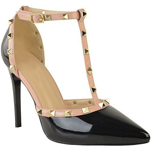 Womens Ladies Studded Low Kitten Heel Sandal Ankle Strappy Designer Shoes Size Black Patent / Gold Studs aSgoq
