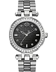 Harley-Davidson Womens Bulova Watch, Embellished Silver Stainless Steel 76L177