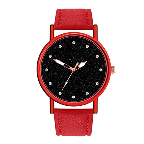 Fxbar Starry Sky Dial Elegant Womens Watches Perfect for Daily Use Trendy Ladies Watch(red)
