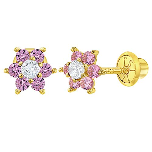14k Yellow Gold Clear and Pink Flower Screw Back Earrings for Girls or Toddlers (Earrings Gold Yellow Flower)