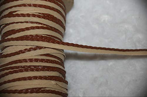 5 Yards Tan Brown Faux Leather Braided Braid Lip Cord Piping Assorted Pattern Ribbon Lace Trim 1/4