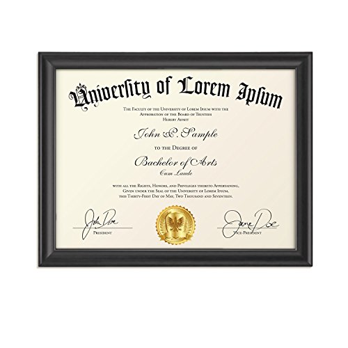 Icona Bay 8.5x11 Diploma Frame (1 Pack, Black), Certificate Frame, Document Frame, Composite Wood Frame for Walls or Tables, Set of 1 Lakeland Collection