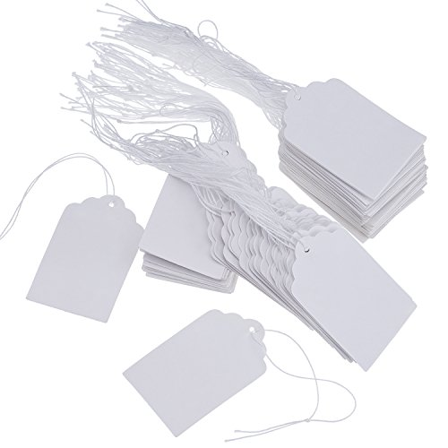 (Outus White Marking Tags Price Tags Price Labels Display Tags with Hanging String, 500 Pack, 30 by 48 mm)