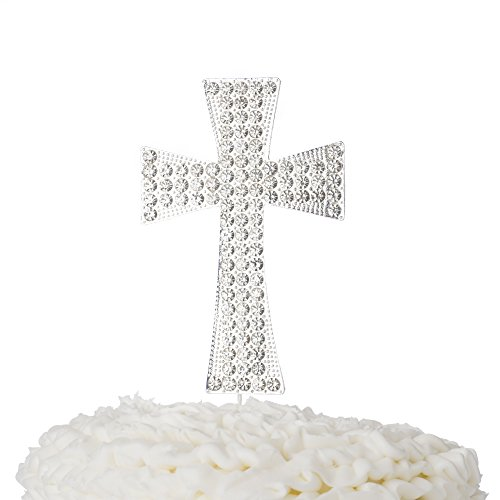 Cake Communion Toppers First (Ella Celebration Cross Cake Topper, First Communion, Religious Baptism, Christening, Child Dedication Keepsake Decoration (Silver))