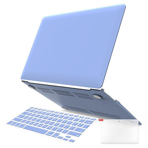 """iBenzer - 3 in 1 Macbook Air 13"""" Soft-Skin Plastic Hard Case Cover & Keyboard Cover & Screen Protector for Macbook Air 13"""" NO CD-ROM (A1369/A1466), Serenity Blue MMA1301SRL+2"""