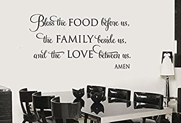 Hommay PVC Wall Stickers Bless Food Religion Dining Room Home Decor Continental Wallpaper Mural Art Decals