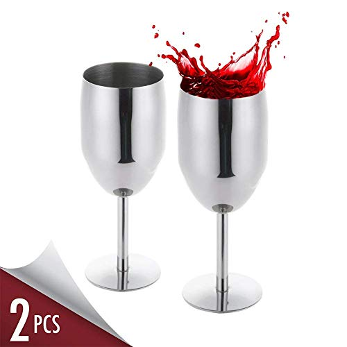 nless Steel Long Stem Wine Glasses for White Red Wine Cocktail, Set of 2 Dishwasher Safe No BPA Unbreakable 8 Oz Wine Goblet for Housewarming Travel Outdoor Camp Picnic Formal Use ()