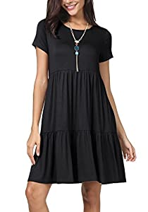 levaca Women Summer Short Sleeve Ruffle Loose Swing Casual T Shirt Dress