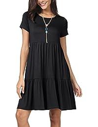e5e547a5d01 Women Summer Short Sleeve Ruffle Loose Swing Casual T Shirt Dress