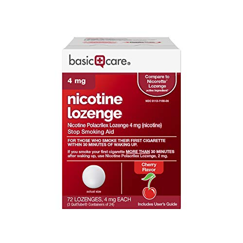 Basic Care Nicotine Lozenge, 4 mg, Cherry, 72 Count from Basic Care