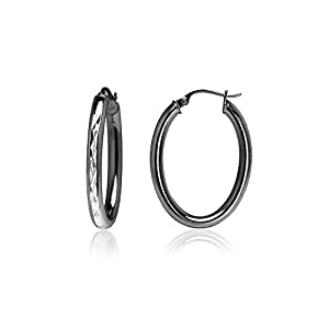 Black Flashed Sterling Silver Two-Tone 3mm Oval Diamond-Cut Hoop Earrings, 20mm