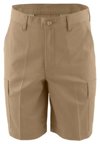 Edwards Short Sleeve Shorts - Edwards Garment Men's Button Closure Wrinkle Resistant Pleated Short_TAN_36