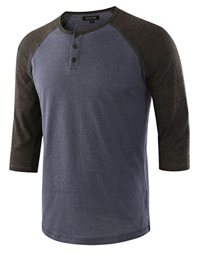 (HETHCODE Men's Casual Raglan Fit Soft Baseball 3/4 Sleeve Henley T-Shirts Tee C.Blue/H.Charcoal S)