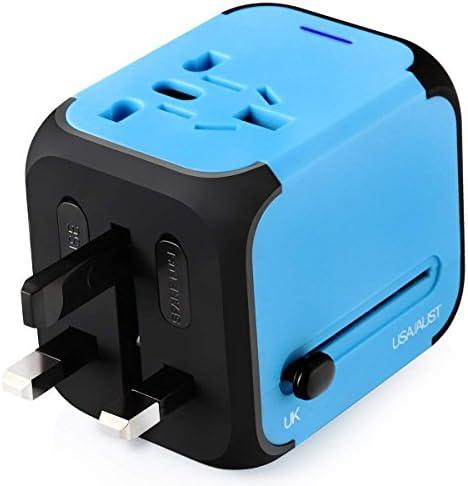 Adaptador Enchufe, Adaptador Viaje Enchufe Universal y cargador todo-en-uno viaje del mundo es adaptador de corriente universal,con doble USB y Seguridad de Fusibles para los enchufes de pared de Estados Unidos Inglaterra