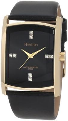 Armitron Men's 204604BKGPBK Swarovski Crystal Accented Gold-Tone Black Leather Strap Watch