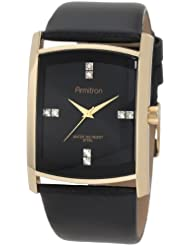 Armitron Mens 204604BKGPBK Swarovski Crystal Accented Gold-Tone Black Leather Strap Watch