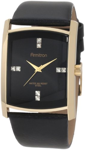 Armitron Men's 204604BKGPBK Swarovski Crystal Accented Gold-Tone Black Leather Strap Watch Black Leather Square Watch