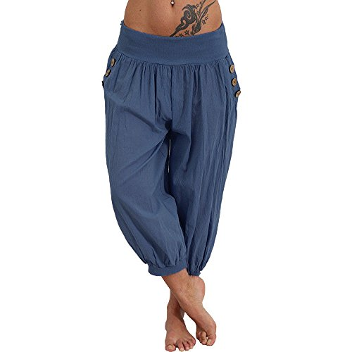 Sunhusing Women's Solid Color High Waist Yoga Pants Fitness Casual Loose Button Buckle Pocket Cropped Pants Blue