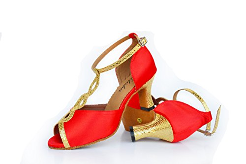 Abby 59 Femmes Partie De Mascarade Tango Peep Toe Personnaliser Talon Peluches De Bal Chaussures De Danse De Mariage Rouge